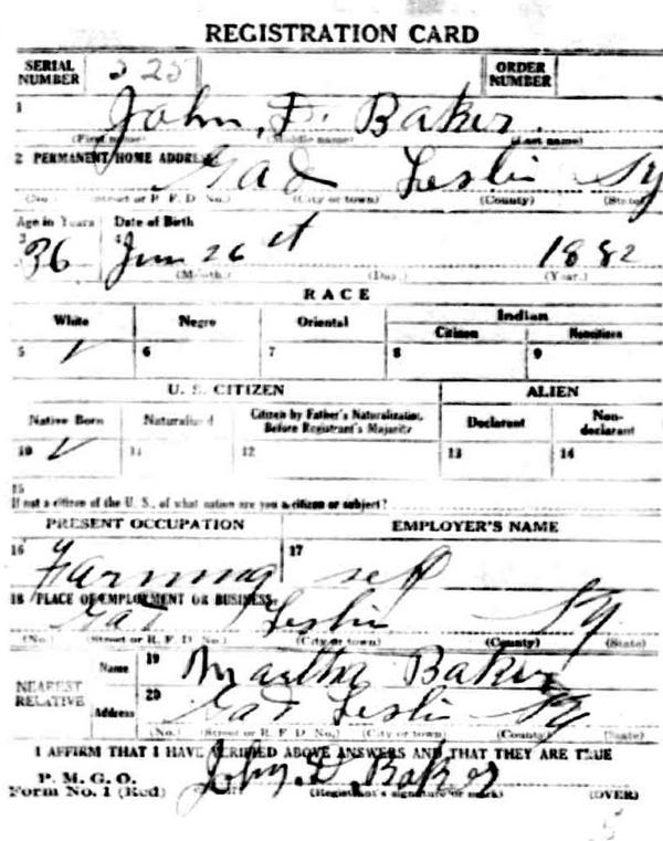 john bakers draft card